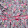 Vestido de manga corta con volantes y hojas all over