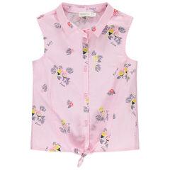 Chemise manches courtes à fines rayures et oiseaux imprimés