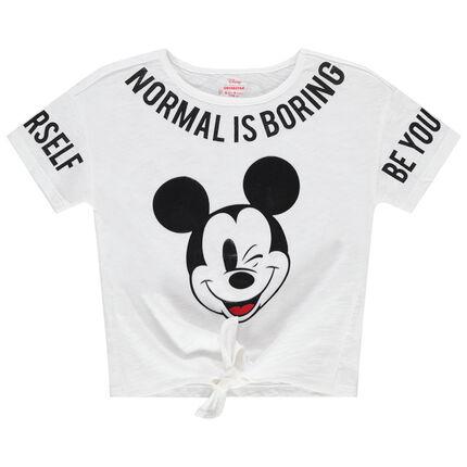 Camiseta de manga corta con inscripciones y Mickey Disney estampados