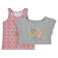 1b31a52a82ae5 Camiseta de manga corta 2 en 1 con camiseta estampada