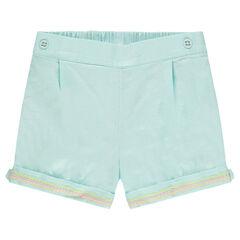 Pantalón corto de algodón de fantasía con cenefa bordada en los dobladillos