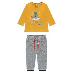 Conjunto de camiseta de manga larga con morsa bordada y pantalón de felpa asargado