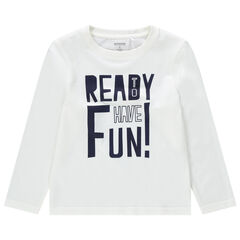 Camiseta de manga larga de algodón ecológico con mensaje estampado