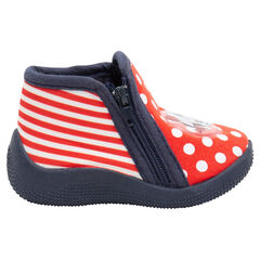 Zapatillas con forma de botines de lunares y rayas con parche de Minnie