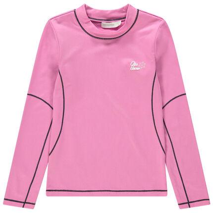 Camiseta interior de esquí rosa de cuello alto.