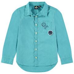 Camisa teñida con bolsillo y bordados Smiley