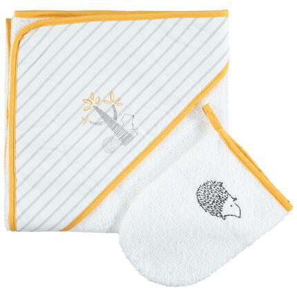 Set de bain avec cape à capuche rayée et gant à hérisson brodé