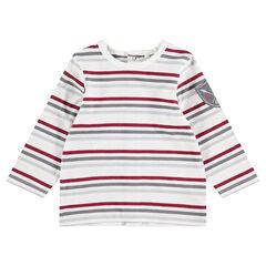 Camiseta de manga larga con rayas y parche