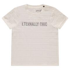 Camiseta de manga corta efecto de rayas con mensaje estampado por delante