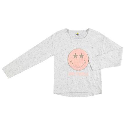 Camiseta de manga larga de algodón neps con Smiley de borreguillo