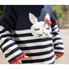 Pull en tricot à rayures et lapin brodé pour bébé fille , Orchestra