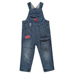 Peto efecto usado y efecto crinkle de jean con bolsillos