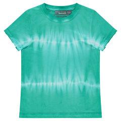 Camiseta de manga corta de punto efecto shibori