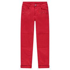 Júnior - Pantalón de sarga roja con corte slim