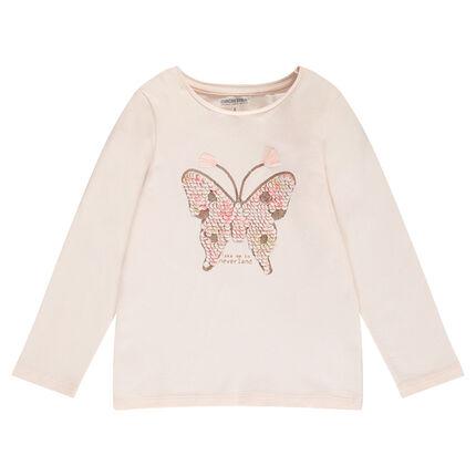 Camiseta de manga larga con mariposa de lentejuelas mágicas