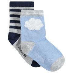 Juego de 2 pares de calcetines variados con nubes y rayas