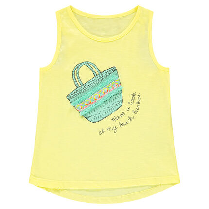 Camiseta sin mangas de punto con cesta estampada y bordados