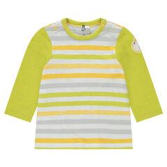 Camiseta de manga larga de jersey de rayas con parche de león
