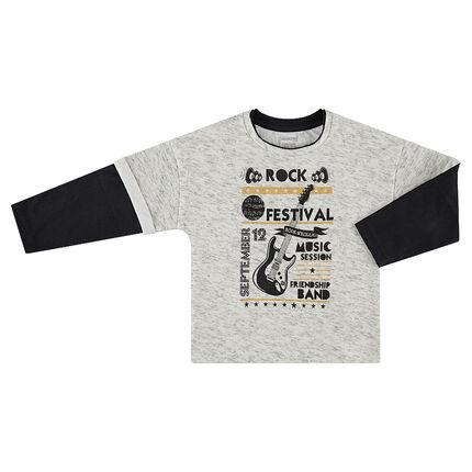 Camiseta de manga larga con efecto 2 en 1 con textos y guitarra estampados