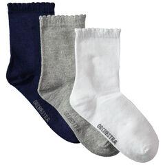 Juego de 3 pares de calcetines lisos con acanalado de fantasía