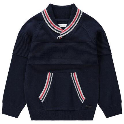 Jersey de punto con cuello chal y bolsillo de canguro