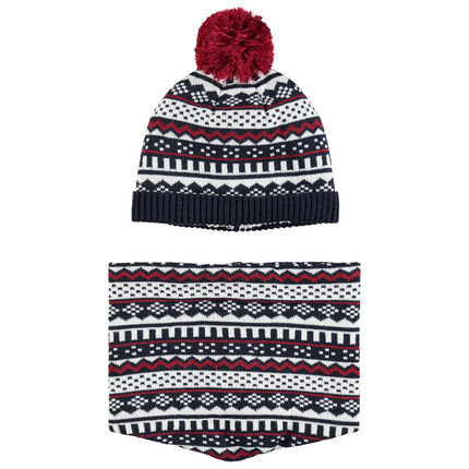Ensemble imprimé doublé bonnet snood