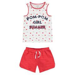 Júnior - Conjunto de camiseta estampada all over y pantalón corto liso