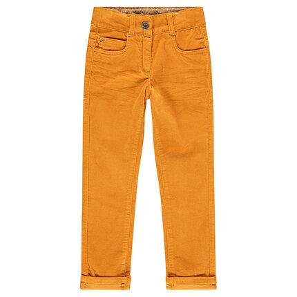Pantalón de terciopelo liso con efecto arrugado