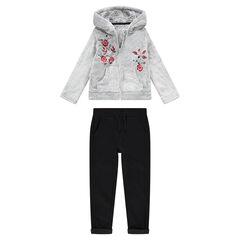 Chándal de dos materiales con chaqueta de borreguillo y capucha con flores bordadas