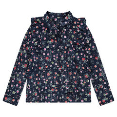 Júnior - Camisa de algodón de fantasía con flores all-over y volantes