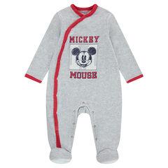 Pijama de terciopelo gris jaspeado con Mickey estampado