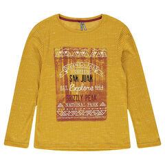 Camiseta de manga larga de punto acanalado con estampado fantasía por delante