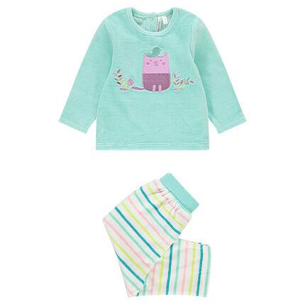 Pijama de terciopelo con 2 piezas y búho bordado con pantalón de rayas