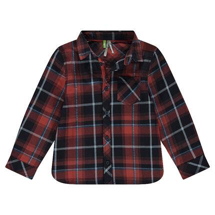 Camisa de manga larga de cuadros grandes con bolsillo