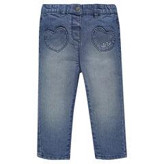 Jeans forma abombada con bordados