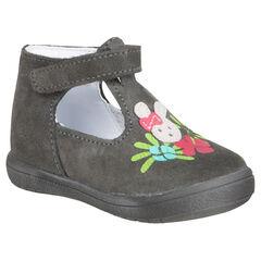 Zapatos salomé de cuero de color gris con detalle impreso