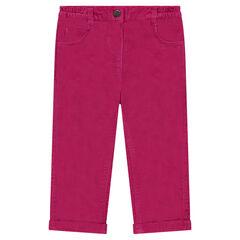 Pantalón de corte recto de terciopelo con bolsillos bordados