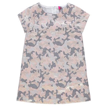 Vestido de manga corta con estampado militar brillante de jacquard