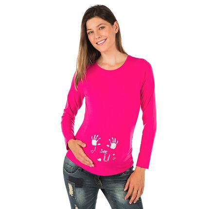 Camiseta manga larga para el embarazo estampado fantasía