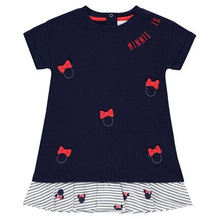 Vestido de manga corta con efecto 2 en 1 de estilo marinero con estampados Minnie ©Disney