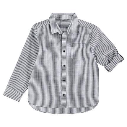 Camisa de manga larga de rayas con bolsillo tipo parche