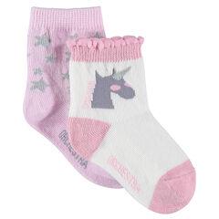 Juego de 2 pares de calcetines a juego con estrellas y unicornio