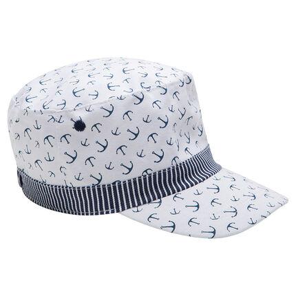 Gorra de sarga con anclas estampadas all over y galón de rayas