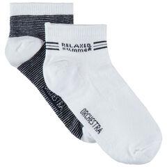 Juego de 2 pares de calcetines cortos lisos/de rayas