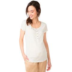 Camiseta premamá de manga corta gris jaspeado con reflejos dorados