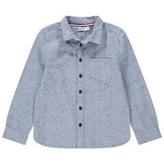 Camisa de manga larga de algodón neps