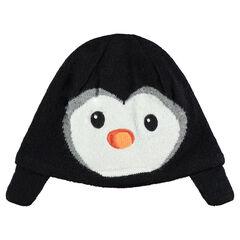 Gorro de punto con dibujo de pinguino de terciopelo y forro de terciopelo