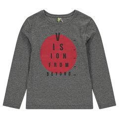 Júnior - Camiseta de punto de manga larga con círculo estampado