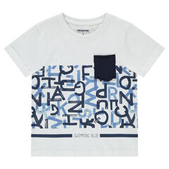 Camiseta de manga corta con letras estampadas y bolsillo