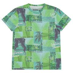 Júnior - Camiseta de manga corta de punto con palmeras all-over